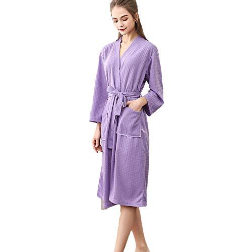 Unisex ultrazacht, knielengte, badjas, duurzaam, met pocket jurk, wafelstof, gering gewicht, pyjama voor de huid.