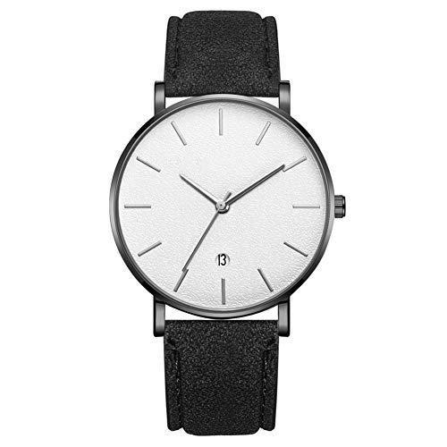 Reloj de pulsera analógico de cuarzo con esfera redonda de moda para hombres y hombres (correa negra caja negra espejo blanco aguja plateada)