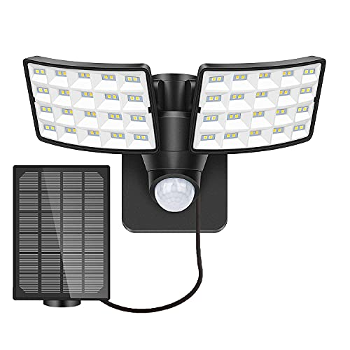 LUOWAN Luce Solare con Sensore di Movimento, 5500K Faretto LED da Esterno con Sensore di Movimento, Faretti Solari a led da Esterno 4400 mAh, IP65 Impermeabile Luce di Sicurezza Solare per Giardino