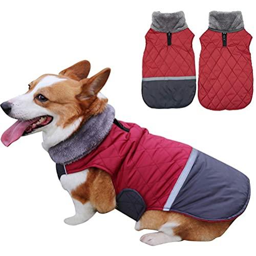 Abrigos para perros, collares Abrigos para perros reversibles Impermeable Chaleco cálido para cachorros Ropa para perros en clima frío