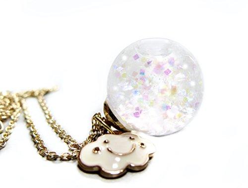 Ladyville Wasser Kette Schneekugel mit Regenbogen Glitzer und weißer Emaille Wolke/Geschenk für Sie/Glaskugel Kette mit Glitzer