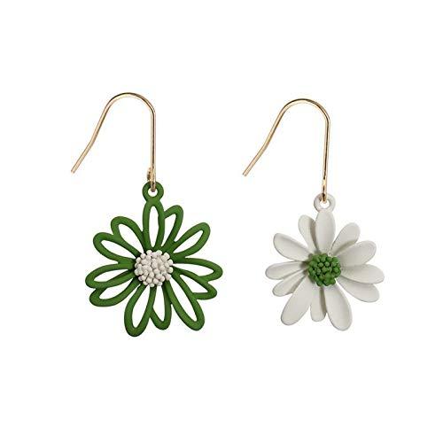 GOHHK Paar Ohrringe Asymmetrische Ohrhänger Elegante stilvolle Blumenohrringe Gänseblümchenohrschmuck Sommerfest , Green Grün 、 Weiß