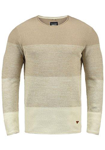 Blend Benno Herren Strickpullover Feinstrick Pullover Mit Rundhalsausschnitt Aus 100% Baumwolle, Größe:L, Farbe:Beige Brown (71509)