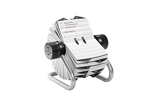 Durable 248223 Telinde x Rotary File, Schedario Rotativo da Scrivania, 500 Schede, Indice Alfabetico 25 Tasti, Argento