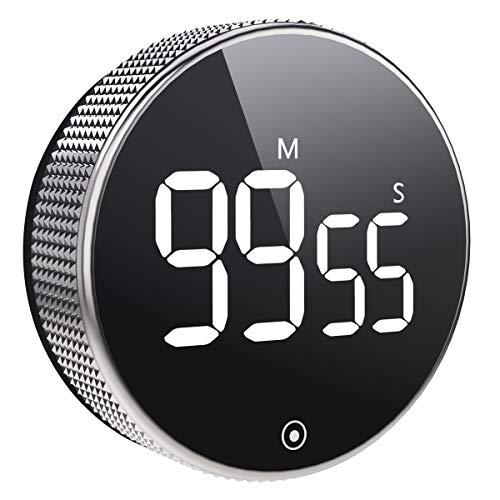 Vabaso Digital Kitchen Timer, Küchentimer Magnetisch, Eieruhr, Kurzzeitwecker, Große LED Bildschirm, Lauter Alarm, Ideal Kurzzeitmesser für Kochen, Backen, Sport, Studieren