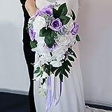 GOLDEN MANGO Brautstrauß, Wasserfall, künstlicher luxuriöser Blumenstrauß für Hochzeitszubehör, Party-Heimdekoration, lila