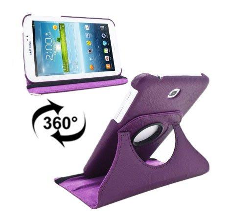 Samsung Custodia Book Pelle Girevole P3200 Galaxy Tab 3 7.0, P3210, SM-T210, SM-T211 7' Pollici Colore Viola