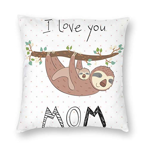 Hangdachang Sloth Mom and Baby Throw Pillow Covers Decorative Square Cushion Cases 45 X 45 cm/18 X 18 Inch
