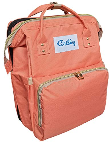 CRIBBY Waterproof Diaper Foldable Backpack Bed. Convertible Folding Bassinet with Stroller Straps. Light & Large Baby Bed. Nursing Nappy Changing Station (Coral)