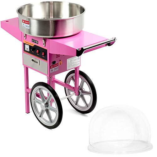Best Price VIVO Pink Electric Commercial Cotton Candy Machine/Candy Floss Maker, Mobile Cart with Bu...