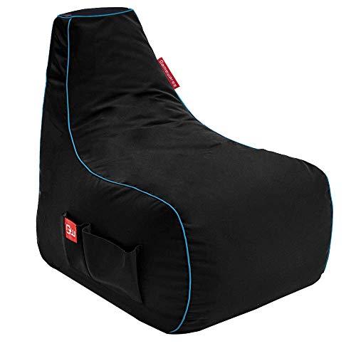 GAMEWAREZ Arctic Mage Gaming Sitzsack, Hergestellt in Deutschland, Schwarz mit blauem Keder, Tasche & Headsethalterung, (L) x 67cm(B) x 80cm(H)