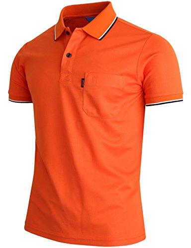 BCPOLOメンズポロシャツ1胸ポケットのDriフィットポロシャツ半袖Tシャツ-Orange-L