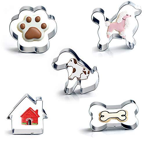 Set di 5 stampini per biscotti, a forma di osso per cani, impronte di zampe, cucciolo, barboncino e cuccia del cane, in acciaio inossidabile, per biscotti e torte per bambini