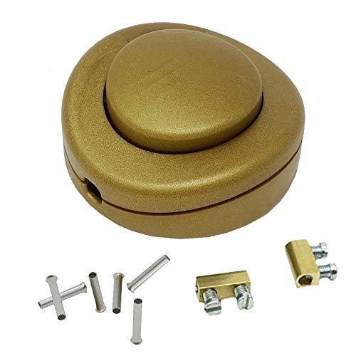 Set de interruptores de pedal dorados + terminales de cable 0,75 mm² + terminales de conexión para cable 2G/3G 250V/2A