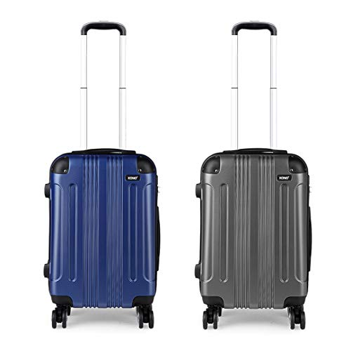 Kono Luggage Set of 2 Hard ABS Suitcase Lightweight Carry-on Travel Trolley with Four 360° Wheels (Navy+Grey)
