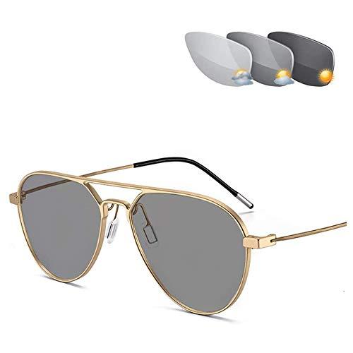 CAOXN Gafas De Aviador Fotocromáticas De Transición, Gafas De Lectura Progresivas De Enfoque Múltiple, Presbicia, Hipermetropía UV400 Gafas De Sol para Hombre,Oro,+2.50