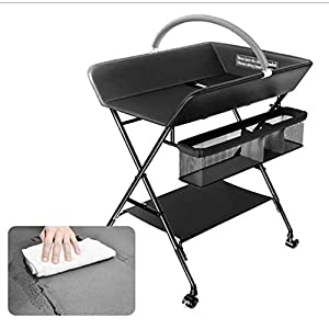 ETERLY Changing Tables Foldable Baby Nursery Changing Station with Infant Storage Organizers | PU Pad & Steel Pipe | Black