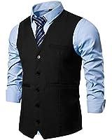 AOYOG Mens Formal Business Suit Vests 5 Buttons Regular Fit Waistcoat for Suit or Tuxedo Black