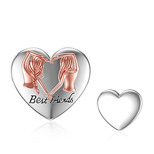 ROMANTICWORK Abalorio de corazón para pulseras de plata de ley 925 con diseño de la suerte, joyería de la amistad, regalo de BFF para los mejores amigos y mujeres y niñas