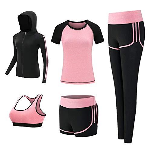 スポーツウェア レディース ヨガウェア トレーニングウェア ランニングウェア ジム フィットネス 上下 5点セット (M, ピンク(5点セット))
