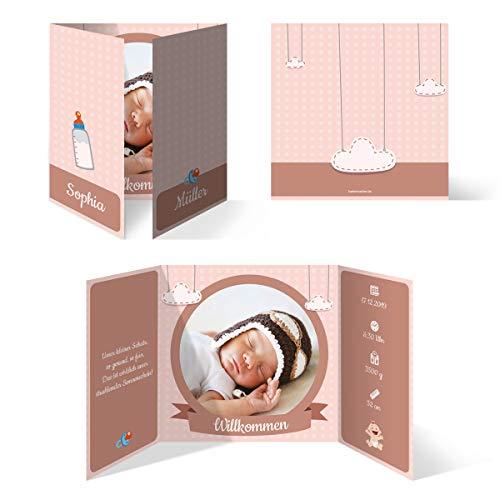 30 x Geburt Danksagungskarten Geburtskarten individuell mit Foto und Text für Mädchen Altarfalz - Rosa Wolken