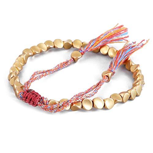 Tibetan Copper Beads Bracelet, Handmade Tibetan Buddhist Bracelet Braided with Cotton Copper Beads, Lucky Rope Bracelet & Bangles For Women Men Thread Bracelets