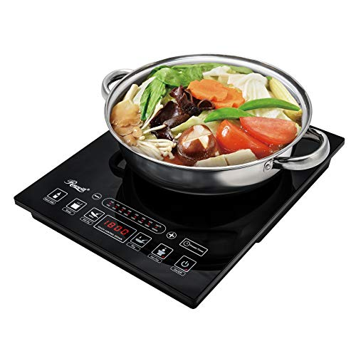 Rosewill Induction Cooker 1800 Watt, 5 Pre-Programmed Induction Cooktop, Electric Burner with Stainless Steel Pot 10' 3.5 QT 18-8, RHAI-15001