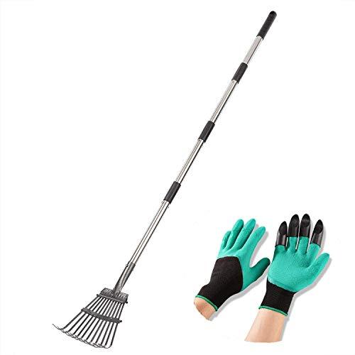 "Product Image of the Yangbaga Rakes for Lawns LeafRake, 30.7""-50""Adjustable Garden Rake 8.7' Wide Lightweight Steel Handle,Plastic Head, for Gardeners,Kids Leaf Rake,Camp Rake Garden Digging Gloves (Green)"