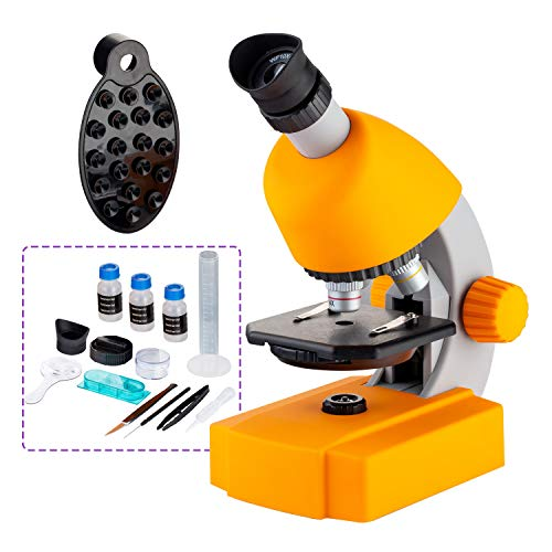 Microscope for Kids 40-640X Microscope for Students with Science Kits Beginners Compact Microscope Includes 15 Slides and Phone Adapter - for Student and Children
