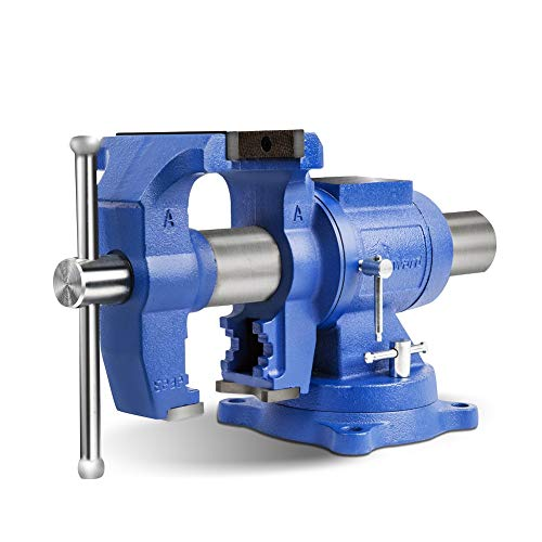 """Forward DT08125A 5-Inch Heavy Duty Bench Vise 360-Degree Swivel Base and Head with Anvil (5"""", Ductile Iron)"""