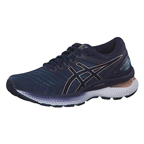 ASICS Womens Gel-Nimbus 22 Running Shoe, Gris Clair Violet Nuit