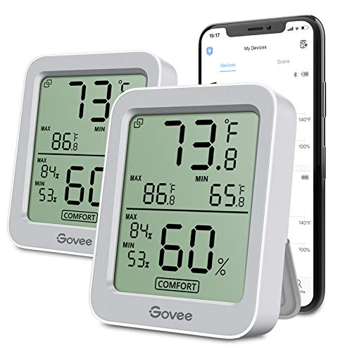 Govee Temperature Humidity Monitor 2 Pack, Indoor Bluetooth Temperature Sensor with Notification Alert, Max Min Records, 2-Year Data Storage Export, Grey