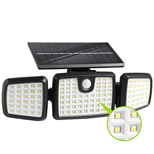 Solar Lights Outdoor,Dimunt 120 LED Wireless Led Solar Motion Sensor Lights Outdoor, 3 Heads 270. Wide Angle with 3 Lighting Modes, IP65 Waterproof Solar Security Lights for Front Door Yard Garage