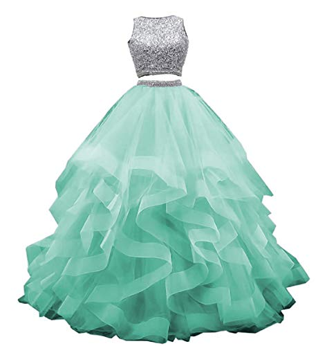 Princess Quinceanera Dresses Tulle Tiered Skirt Crystal Beaded Sweet 16 Birthday Party Dress Tiffany US10