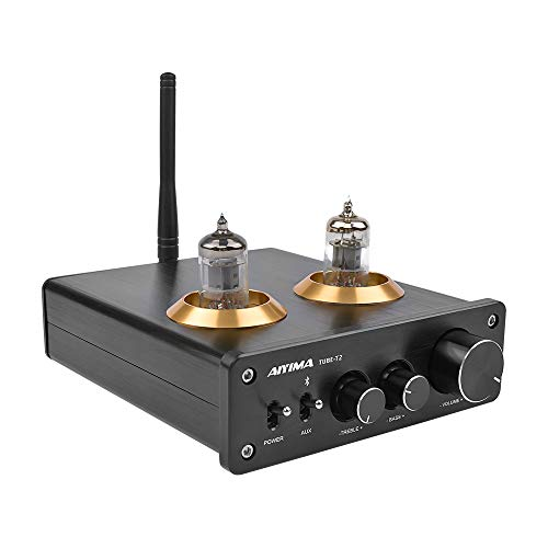 AIYIMATUBE-T2Bluetooth5.0ハイファイ6j1真空管プリアンプアンプステレオプリアンプ高音低音コントロールホームサウンドシアター用(黒)