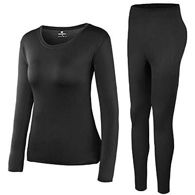 HEROBIKER Women's Thermal Underwear Sets Long Johns Ultra Soft Thermal Pajama Top Bottom Black