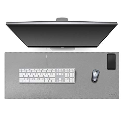 Grey PU Leather Desk Pad Extended Gaming Mouse Pad Keyboard Mat Dual Use Waterproof Writing Desktop Mat for Office/Home (Size L 39.4' x 15.7')