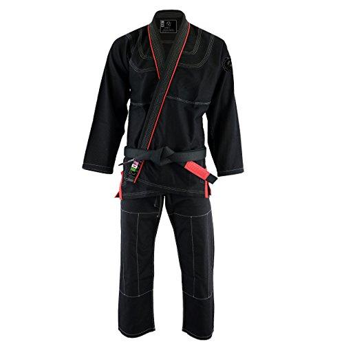 PFG Premium Brazilian Jiu Jitsu - BJJ Kimono Gi Uniform Kids Adults Unisex Uniform (Black, A-2)