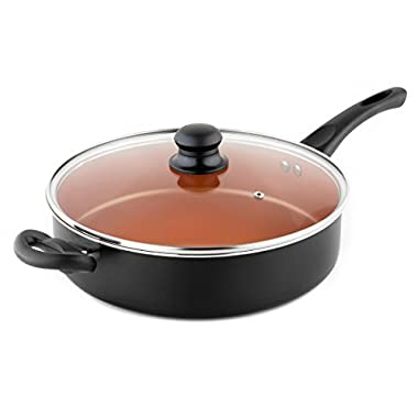 MICHELANGELO 5 Quart Copper Saute Pan With Lid & Helper Handle, Deep Skillet With Lid, Copper Pan With Lid, Deep Skillet With Lid, Ceramic Skillet With Lid, Ceramic Saute Pan Nonstick Induction 11Inch