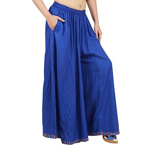 Blue Color Rayon Extra Wide Leg Pant, Divider Palazzo Pant, Harem, Comfy Skirt