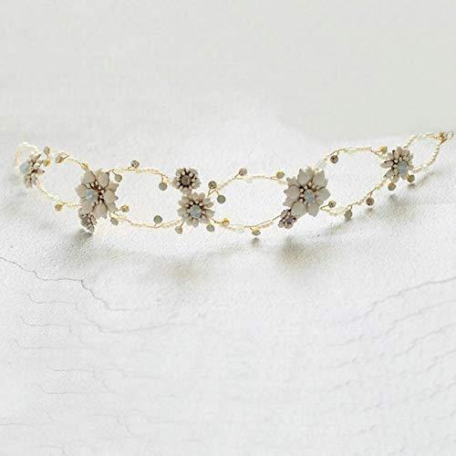 Bridal Hair Accessories Pretty White Enamel Headband Woman Wedding Jewelry,40cm hairband