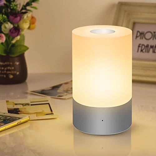 Slicoo Tischlampe Nachtlicht mit Farbwechsel RGB dimmbare Touch Lampe augenfreundliche tragbare Led Nachttischlampe für Kinder, Schlafzimmer, Wohnzimmer, Büro