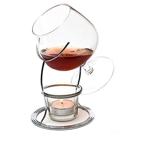 CKB Ltd® Brandy & Cognac Snifter Warmer Brandy Gläser Cognacgläser & Schwenker Brandy-Glas Stand Gift Set Wärm-Ständer, Teelicht & Teelichthalter