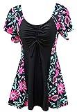 Ecupper Damen Badekleid mit Shorts Einteiler Badeanzug Kurzarm Blumen Muster Größe Größen Rosa Pineapple 2XL