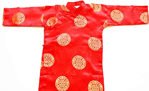 Ao Dai, Vietnamese Traditional Dress for Children - Red Aodai for boys size#6