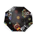 折り畳み傘 UVカット 晴雨兼用 折りたたみ傘 8本骨 耐風撥水 軽量 日傘Flowers Dog
