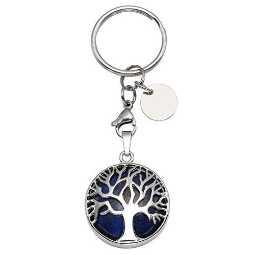 CrystalTears Schlüsselanhänger Natürlich Edelstein Lebensbaum Anhänger Chakra Heilsteine Reiki Schlüsselbund Keychain Dekoration Lapis Lazuli
