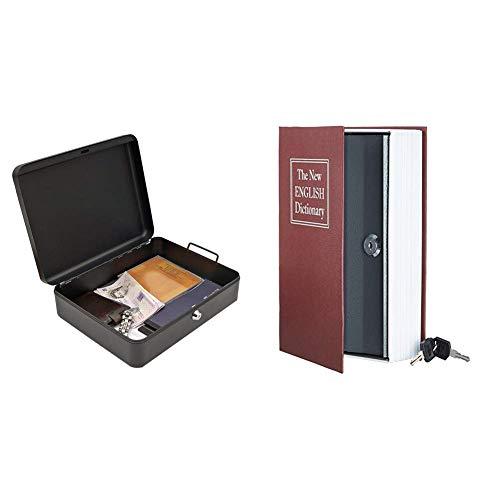 Cathedral - Cassetta portavalori, formato A4 & AmazonBasics - Cassetta portavalori a forma di libro, Serratura con chiave, Rosso