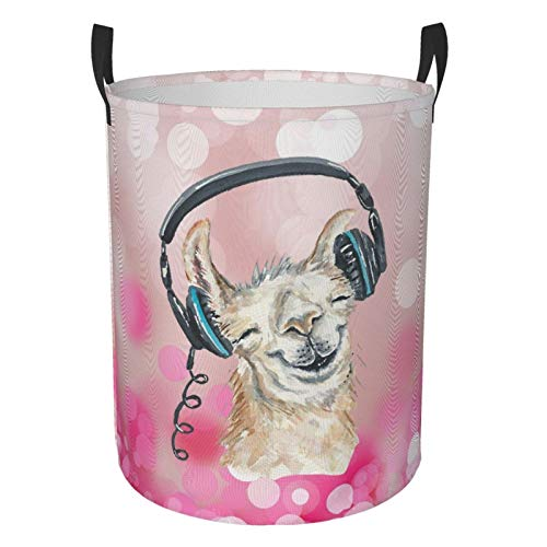 Collapsible Round Laundry Basket Llama Music World Laundry Hamper Large Capacity Storage Bin Kids Toy Clothes Organizer With Strong Handle Home Dorm Room Decor