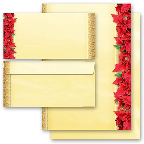 Briefpapier Sets Motivpapier Weihnachten, ROTE WEIHNACHTSSTERNE 100 Blatt Briefpapier + 100 passende Briefumschläge DIN LANG ohne Fenster | Paper-Media